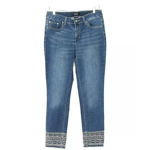 Earl Jean Skinny Ankle Embroidered Denim Jeans 10